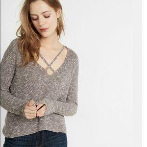 Express Split Back Strappy V-Neck Pullover Sweater